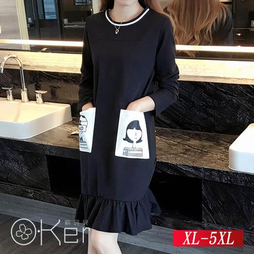 中大尺碼 口袋卡通印花連衣裙 XL-5XL O-Ker歐珂兒 150744-C