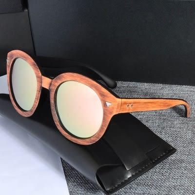 太陽眼鏡-偏光木頭紋三角裝飾男女墨鏡5色73en83[巴黎精品]