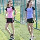 夏天短袖短裙運動套裝女夏大碼學生運動服網球裙兩件套學院風跑步【全館免運】