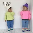 Queen Shop【04011409】童裝 拼接口袋車線造型牛仔哈倫褲 S/M/L/XL*現+預*