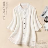 白色棉麻襯衫女中袖顯瘦寬鬆上衣夏季新款大碼女裝亞麻襯衣薄 至簡元素