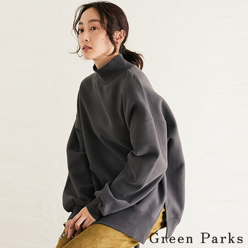 「Winter」休閒高領下開衩落肩上衣 - Green Parks