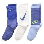 Nike 男女兒童3包組Multi運動襪(藍色系列)