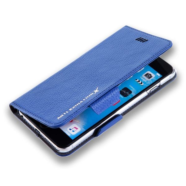 X-SHELL IPHONE 6/6s 防電磁波真皮手機皮套 (荔枝紋 寶石藍)