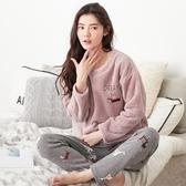 秋冬季款天新珊瑚絨睡衣女加厚甜美可愛韓版法蘭絨家居服套裝