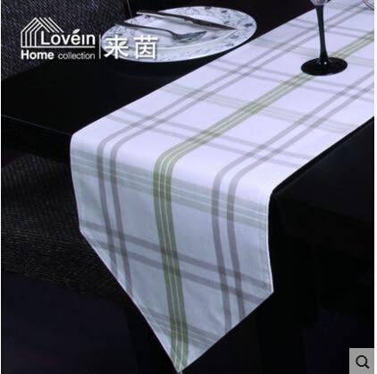 桌旗 新款簡約現代棉條紋 清新格子桌旗 桌布 餐墊