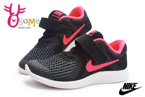 NIKE運動鞋 小童鞋 輕量透氣 REVOLUTION 4 (TDV) 慢跑鞋N7295#黑粉◆OSOME奧森童鞋/小朋友