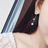 耳環 珠珠 鑲鑽 鏤空 流蘇 甜美 耳環【DD1705026】 icoca  06/29