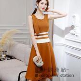 無袖洋裝/春夏新款韓版百搭大碼顯瘦時尚潮流休閒連身裙女「歐洲站」