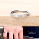戒指 2MM單鑽素面鋼製尾戒 【NC210】