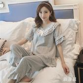 睡衣女夏季棉質短袖七分褲家居服韓版復古蕾絲顯瘦 tx1187【雅居屋】