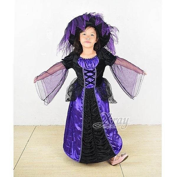 豪華紫巫婆,小魔女/女巫服裝/舞台劇/話劇服裝/化妝舞會/萬聖節/兒童變裝,節慶王【W380191】