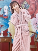 睡袍女冬季珊瑚絨保暖家居服加厚加長款公主風連體睡衣法蘭絨浴袍