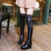 韓版單靴子女鞋春秋冬季長靴高筒靴過膝蕾絲