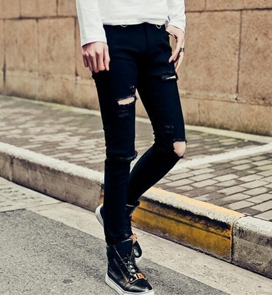 FINDSENSE品牌 男 時尚 街頭 潮 黑 破洞 金屬圈裝飾 牛仔褲 九分褲