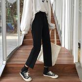 西裝長褲 黑色褲子女學生寬鬆韓版ulzzang百搭高腰九分西裝褲直筒  poly girl