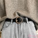 韓國復古圓扣皮帶女寬簡約百搭韓版休閒針扣腰帶學生裝飾牛仔褲帶