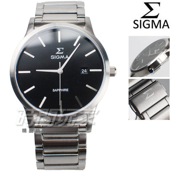 SIGMA 簡單時尚鋼帶腕錶 藍寶石水晶 日期視窗 黑色 防水手錶 男錶 1737M-1