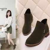 韓國秋冬粗跟中跟側拉鍊絨面時尚百搭英倫馬丁靴裸靴短靴女靴