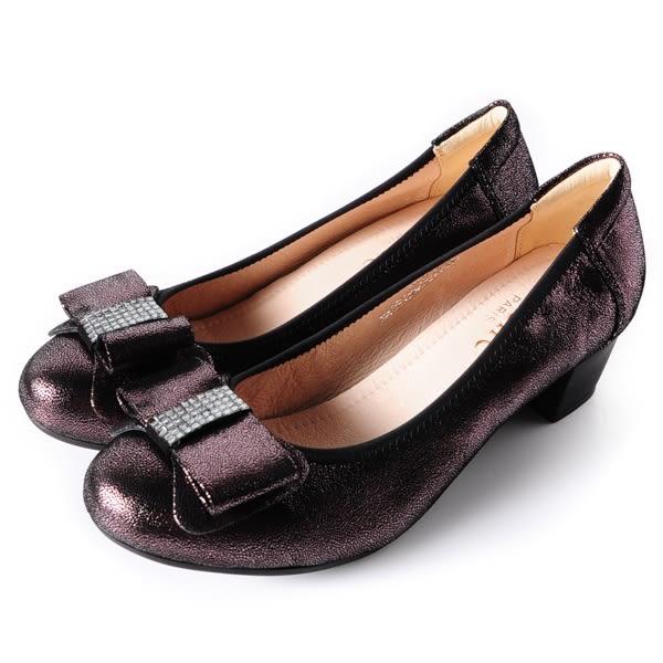 DeSire  氣質蝴蝶結羊皮低粗跟鞋  -銀灰