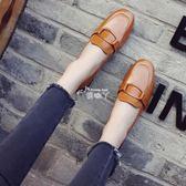 粗跟單鞋女中跟復古漆皮方扣小皮鞋工作鞋方頭懶人鞋 俏腳丫