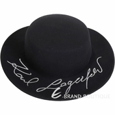 KARL LAGERFELD K/Signature 簽名刺繡寬檐羊毛帽(黑色) 1840566-01