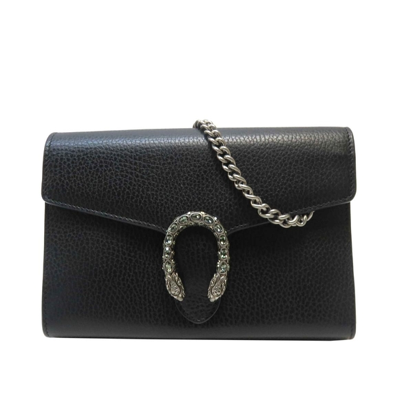 GUCCI 古馳 黑色牛皮銀鍊酒神包 Dionysus Mini Chain Bag 401231 【BRAND OFF】