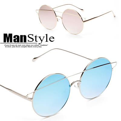 任選2件388太陽眼鏡歐美復古圓形金屬炫彩雙梁貓眼太陽眼鏡墨鏡【09J0039】