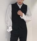 找到自己品牌 時尚潮流 男 翻領 條紋 修身 西裝套裝 成套西裝 馬甲 西褲 上衣+褲子