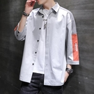 短袖襯衫男士夏季薄款韓版潮流工裝衣服潮寬鬆百搭七分袖休閒外套【快速出貨】