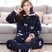 冬季女士三層加厚夾棉睡衣套裝法蘭絨保暖棉襖珊瑚絨中老年家居服