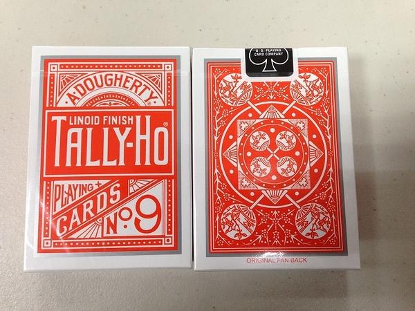 TALLY-HO 撲克牌 扇背 特製橘背 orange