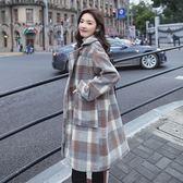 森系格子毛呢子外套女中長款冬季2018新款流行大衣學生小清新加厚IGO  檸檬衣舍