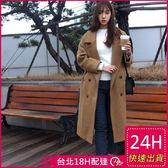 梨卡★現貨 - 韓國空運【韓國製】秋冬加厚寬鬆仿羊毛毛呢大衣風衣西裝外套A411