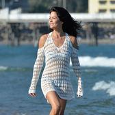 罩衫 鏤空 針織 V領 露肩 長袖 沙灘 比基尼 罩衫【ZS338】 BOBI  04/26