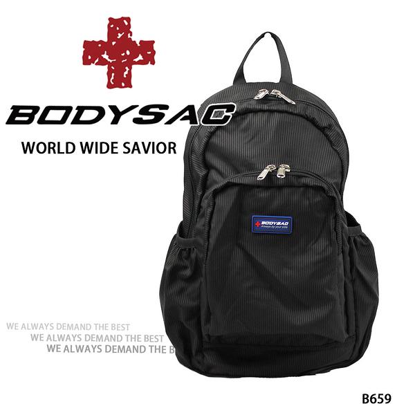 黑色機能後背包 AMINAH~【BODYSAC B659】