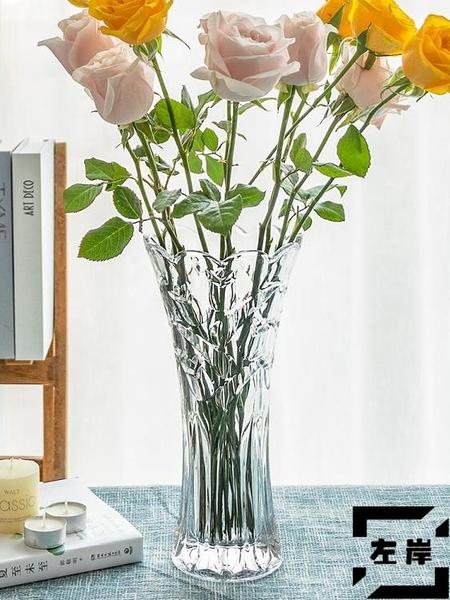 花瓶歐式大號玻璃透明花瓶客廳擺件插花水培【左岸男裝】