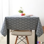 【Bbay】防油桌布 和風藍 田園 餐桌布 茶藝 格子書桌布 棉麻 文藝 茶幾臺布