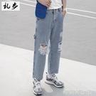 牛仔褲男士直筒寬鬆ins墜感多口袋破洞闊腿褲韓版潮流九分褲「時尚彩紅屋」