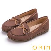 ORIN 樂活渡假 柔軟牛皮透氣帆船鞋-棕色
