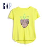 Gap女童棉質舒適亮片短袖T恤552653-簡約黃條紋