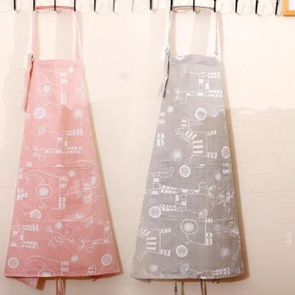 純棉布家用工作服成人無袖男女廚房防塵防油清潔做飯家居圍腰圍裙 黛尼時尚精品
