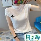 夏季洋氣薄款冰絲針織衫女刺繡白色短袖t恤半袖上衣【風之海】