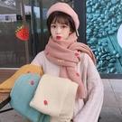日系少女甜美草莓刺繡針織圍巾女2020新款可愛百搭ins潮 快速出貨