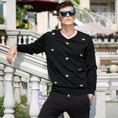 針織毛衣-V領純色小蜜蜂刺繡修身男針織衫73pg10【巴黎精品】