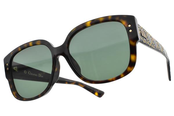 Dior 太陽眼鏡 LADY DIOR STUDS F 086O7 (琥珀-綠鏡片) 歐美時尚造型款 墨鏡 #金橘眼鏡