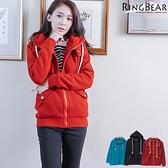 質感大衣--溫暖滿分造型環扣大口袋內刷毛連帽外套(黑.紅.綠XL-5L)-J222眼圈熊中大尺碼◎