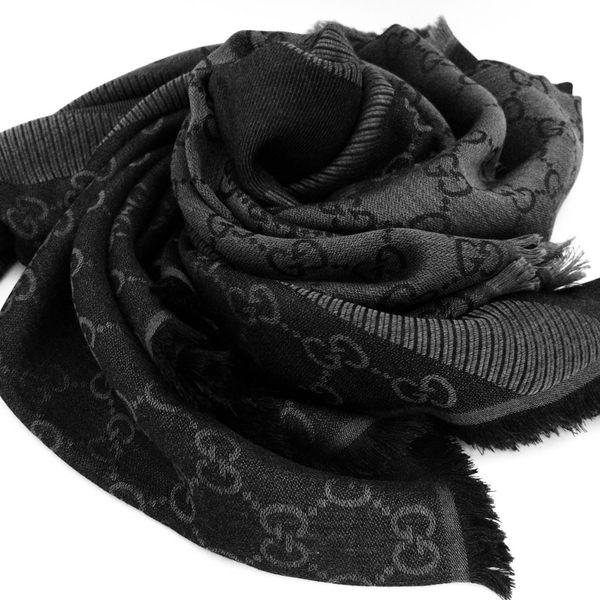 GUCCI全新真品 雙G緹花雙色 方巾/圍巾/披肩 (黑 灰色) ~現貨特價
