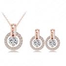 玫瑰金純銀飾品組合含項鍊+耳環-獨特時尚情人節母親節禮物女配件73bi5【時尚巴黎】