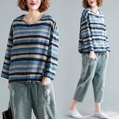 大尺碼女裝 長袖棉麻襯衫上衣 V領抽繩條紋棉麻顯瘦長袖T恤上衣